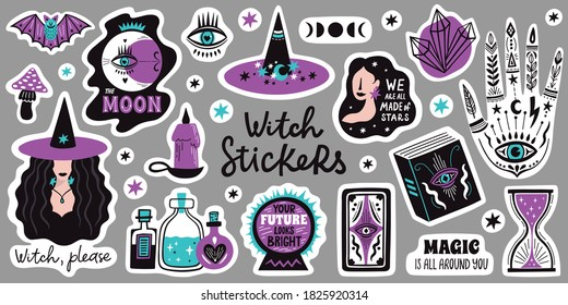 Doodle witchcraft magical stickers. Occult magic hand, witch mystical symbol, witchcraft hand drawn arms with moon and crystal illustration icons set. Spiritual witchcraft, mystic esoteric elements.