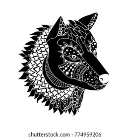Doodle wolf head illustration on simple white background