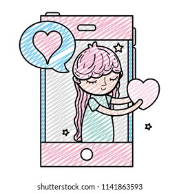 doodle woman with smartphone and lovestruck social message
