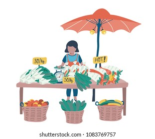 Doodle woman vendor selling fresh vegetables at local market , all on white background, illustration, vector