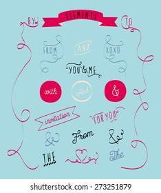 Doodle and word elements on light blue background. To be used for your wedding, birthday or greeting card. Vector and illustration design.