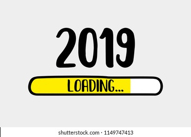 Doodle Yellow Download bar,2019 loading text, vector illustration