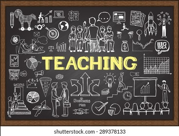 Doodles about teaching on chalkboard.
