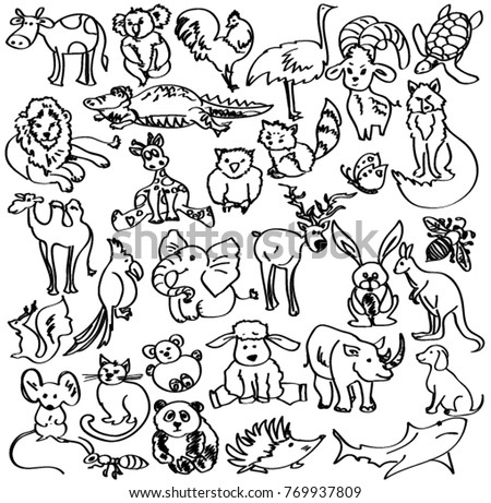Doodles Animals Sketch Animals Black White Stock Vector Royalty