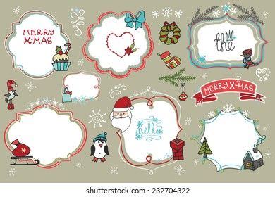 Doodles Badges,labels ,frames with santa faces,snowflakes,holiday icons.Humor Christmas,new year set.For design templates,invitations,card. Children's hand drawing style. Winter Vector