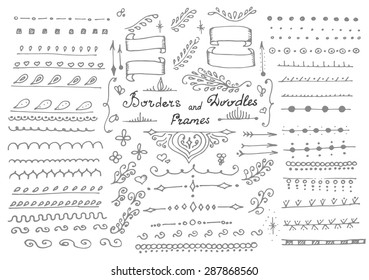 Doodles border vector,arrow,brushes,hearts,love decor elements set.For design templates,invitations. Children's hand drawing style. For weddings,Valentine's day,holidays,baby design,birthday.