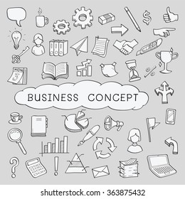 Doodles in business object and concept icons set. Sketching, hand writing, vector illustration.