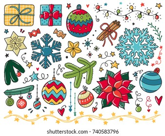 Doodles Christmas Elements Color Vector Items Illustration With New Year Decor Design For