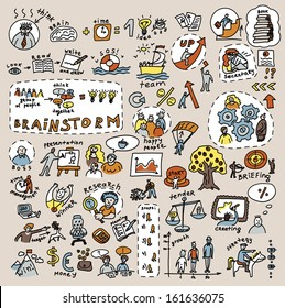 Doodles creative and business color icons Big collection of icons and symbals with hand-drawn doodles people and objects. . Good design elements for funny presentation. Color vector illustration.