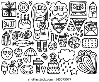 Doodles Cute Elements Black Vector Coloring Page Illustration With Hearts And Cake Girl