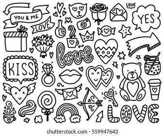 Doodles cute elements. Black vector items. Illustration with hearts and flowers, animals and tea, cloud and stars. Design for prints, cards and coloring page. Valentine's day theme poster.