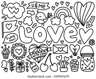 Doodles cute elements. Black vector items. Illustration with hearts and flowers, bird and rainbow, cloud and stars. Design for prints, cards and coloring page. Valentine's day theme poster.