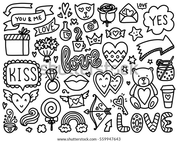 Doodles Sevimli Elemanlar Siyah Vektor Ogeleri Stok Vektor