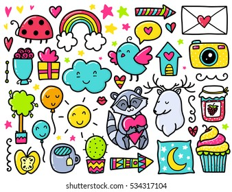 Doodles cute elements. Color vector items. Illustration with hearts and flowers, animals and tea, cloud and stars.