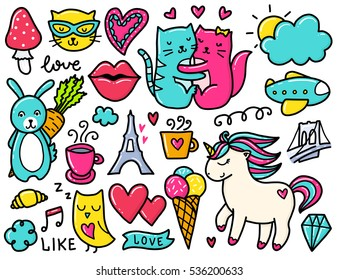 Doodles cute elements. Color vector items. Illustration with hearts and cats, rabbit and pony, cloud and coffee.
