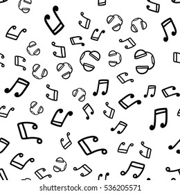Doodles cute seamless pattern. Black vector background. Illustration with headphones and music notes. Design for T-shirt, textile and prints.
