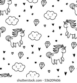 Doodles Cute Seamless Pattern Black Vector Background Illustration With Pony And Cloud Design