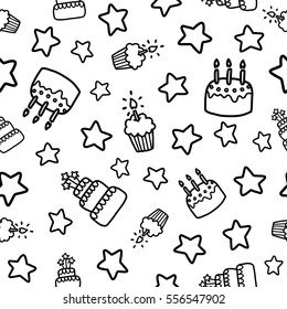 Doodles cute seamless pattern. Black vector background. Illustration with cake and cupcake. Design for T-shirt, textile and prints. Happy birthday theme.