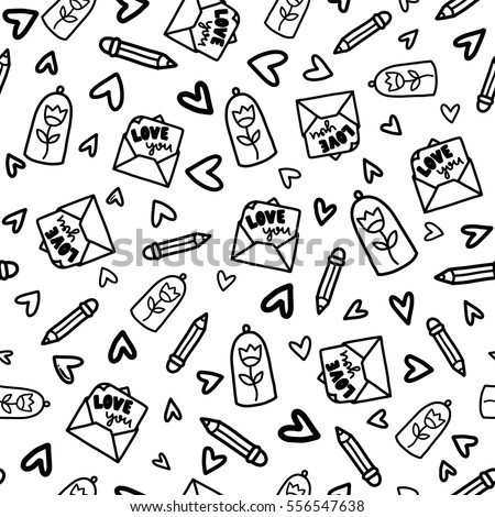 Doodles Cute Seamless Pattern Black Vector Stock Vector Royalty