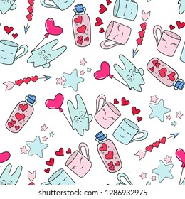 Doodles cute seamless pattern. Color vector background. Illustration with bunny, mugs, bottle with hearts. Design for T-shirt, textile and prints. Valentine's day theme.