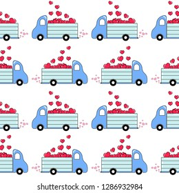 Doodles cute seamless pattern. Color vector background. Illustration with a truck full of hearts. Design for T-shirt, textile and prints. Valentine's day theme.