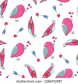 Doodles cute seamless pattern. Color vector background. Illustration with a bird, heart, arrow, feathers. Design for T-shirt, textile and prints. Valentine's day theme.