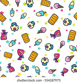 Doodles Cute Seamless Pattern Color Vector Background Illustration With Sweets And Ice Cream