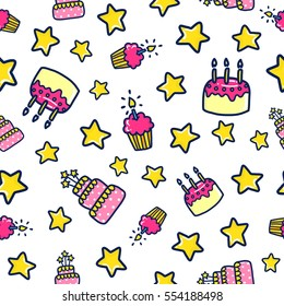 Doodles cute seamless pattern. Color vector background. Illustration with cake and cupcake. Design for T-shirt, textile and prints. Happy birthday theme.