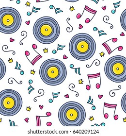 Doodles cute seamless pattern. Color vector background. Illustration with musical plate and notes. Design for T-shirt, textile and prints.