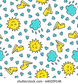 Doodles Cute Seamless Pattern Color Vector Background Illustration With Sun And Clouds Design