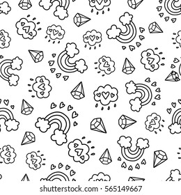 Doodles cute seamless pattern. Monochrome vector background. Illustration with hearts, rainbow and clouds. Design for t-shirt, textile and prints. Valentine's day theme.
