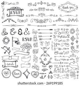 Doodles decor element set.Swirling  border,arrow,hearts,crown,lettering ampersands,ribbons.Design template,invitation. Hand drawing sketch. For wedding,Valentine day,holiday.Vintage love Vector