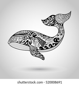 Doodles design of a whale