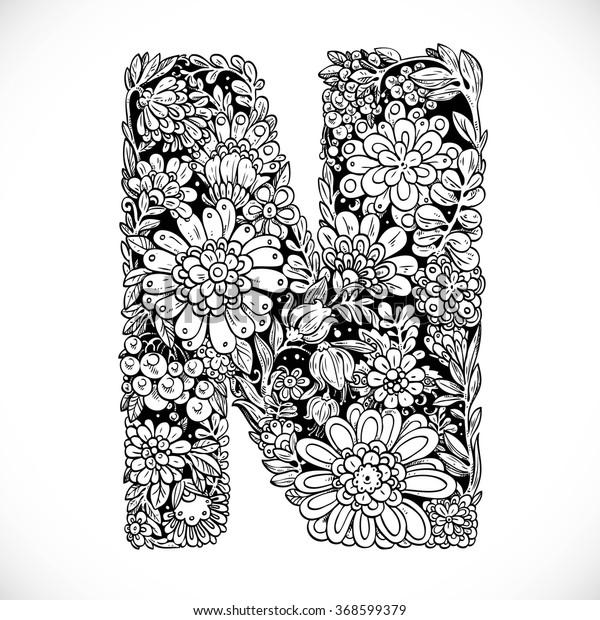 Stockvektor 368599379 med Doodles Font Ornamental Flowers ...