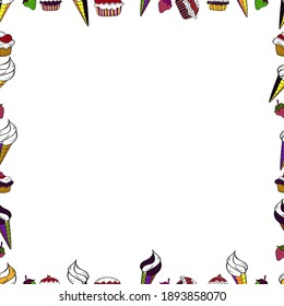 Doodles frame consists of brown, black and white border. Vector Background seamless pattern with hand drawn Frame doodle. Seamless pattern.