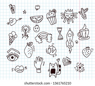 Doodles funny set in the notepad, vector illustration