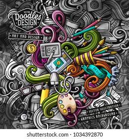 Doodles graphic designer vector illustration. Creative art background. Colorful stylish card design