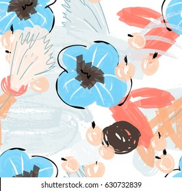 Doodles with grunge texture rough drawn flower and berries.Abstract seamless pattern. Universal bright background for greeting cards, invitations. Had drawn ink and marker watercolor texture.