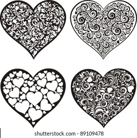 doodles hearts set isolated on White background. Happy valentine day decor. Vector illustration