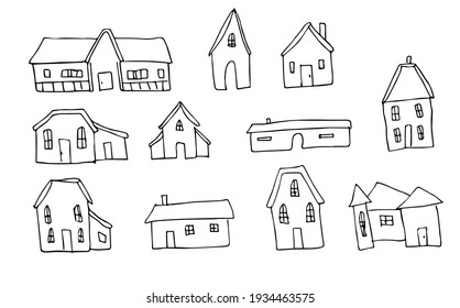 Doodles house hand drawing. Line art. Posters. Home, building. Illustration. Cartoon. Elements with window and doors.