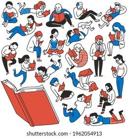 Des gribouillages d'illustrations de différents personnages de gens aiment lire des livres. Divers, multiethniques, âgés, jeunes, enfants et adolescents. Plan, linéaire, art en ligne mince, croquis dessiné à la main, joli design.