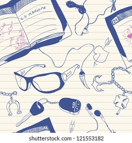 doodles on note paper seamless pattern