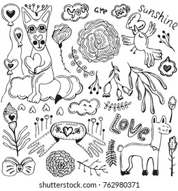 Doodles Romantic Elements With Cute Animals Flowers And Hearts Hand Drawn Cartoon Vector Items