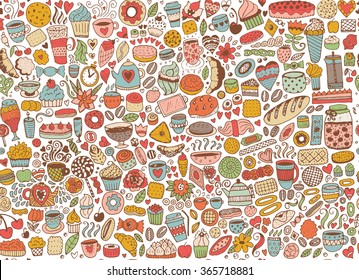 Doodles Seamless Pattern Of Cupcakes Cakes And Tea Vector Background With Sweets Hand