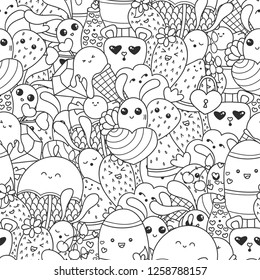 Doodles seamless pattern with ice cream, sweets and kawaii characters. Valentines Day pattern for coloring book or design print. Easy to change color.