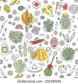 Doodles seamless pattern of Mexico - Temple of Kukulkan, tequila, sombrero, agave, maracas and other culture elements with imitation of watercolor. Vector illustration.