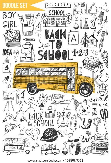 Doodles Set Back School Stock Vector Royalty Free 459987061