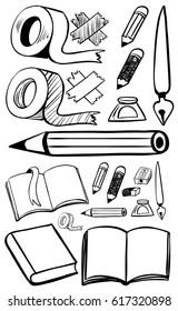 Doodles set for different stationeries illustration