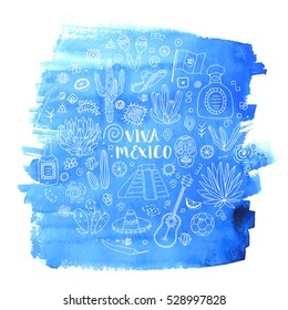 Doodles set of Mexico - Temple of Kukulkan, tequila, sombrero, agave, maracas and other culture elements on blue watercolor background. Vector illustration