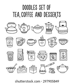 Doodles set of tea, coffee and desserts. Hand-drawn sketches.